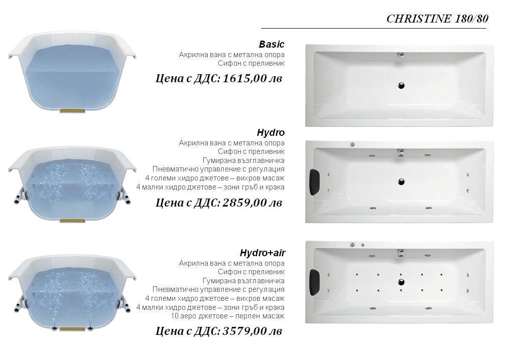 Хидромасажна вана Christine 180×80